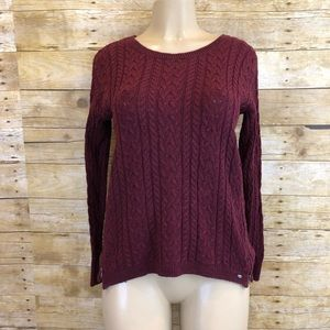 American Eagle Outfitters Burgundy Braided Sweater